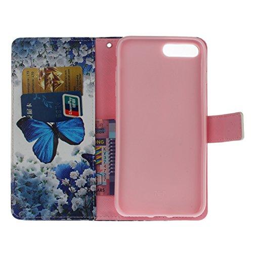 Coque Cuir Apple iPhone 7 Plus (5.5 pouces), Fermeture Aimantée de Motif Imprimé Étui Housse en Cuir Ultra-mince Avec La Fonction Stand pour Apple iPhone 7 Plus (5.5 pouces) Étui +Bouchons de poussièr 1