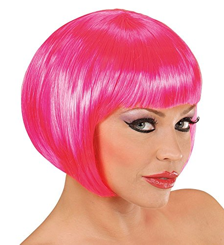 shoperama Damen Perücke Bob Pagenkopf Flamingo Can Can Showgirl Kostüm-Zubehör Frisur glatt kurz, Farbe:Pink