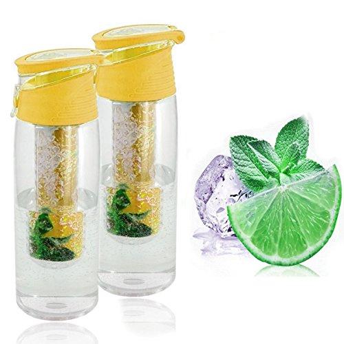Trinkflasche mit Früchtebehälter 2er Set Sportflasche auslaufsicher Infusions Wasserflasche Fruchtschorlen 700ml Kunststoff BPA frei Getränkeflasche Wasser-Flasche Infuser (Trinkflaschen, gelb)