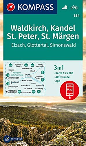 Waldkirch, Kandel, St.Peter, St. Märgen: 3in1 Wanderkarte 1:25000 mit Aktiv Guide inklusive Karte zur offline Verwendung in der KOMPASS-App. Fahrradfahren. (KOMPASS-Wanderkarten, Band 884)