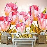 YUANLINGWEI Wandtapeten-Tulpe-Blumenbetriebsmuster-Hintergrundtapete Der Kundenspezifischen Modernen Tapete Der Tapete 3D Kundenspezifische Moderne Für Küche,230Cm (H) X 310Cm (W)