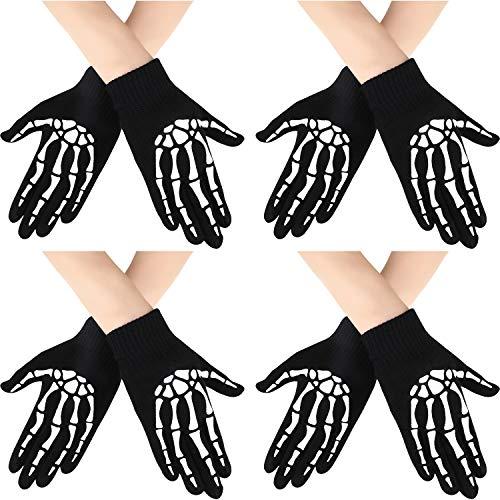 Ein Macht Kostüm Ghost - Syhood 4 Paar Halloween Skelett Handschuhe Unisex Stricken Glow in The Dark Handschuhe Vollfinger Halloween Kostüm Handschuhe für Halloween Kostüm Cosplay