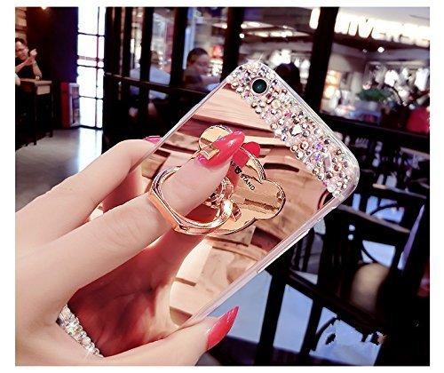 Custodia per iPhone 5 5S,Specchio Custodia Cover per iPhone SE,Leeook Moda Lusso Brillante Diamante Bling Gomma Cellulare Protettiva Case in Oro Riflettente Ultra Sottile Flessibile Anti-Graffio Trucc Orso,Rosa Argento