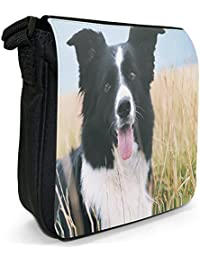 Border Collie Dog Sitting In Field Small Black Canvas Shoulder Bag / Handbag