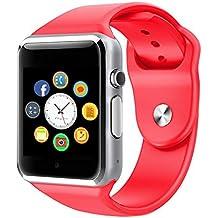 Reloj Inteligente, CulturesIn Pulsera con Pantalla Táctil Bluetooth con Cámara/Ranura para Tarjeta SIM/Análisis de Podómetro para Android (Funciones Completas) y para IOS (Funciones