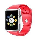 Smart Watch, CulturesIn Orologio da Polso Touch Screen Bluetooth con Fotocamera/Slot Scheda SIM/Contapassi per Android (Tutte le funzioni) ed iOS (funzioni parziali). (red)