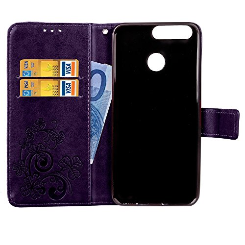 Double Magnetic Back Sucktion Retro Style PU Leder Flip Stand Case mit Kickstand und Wallet Beutel Funktion für Huawei Ehre V9 ( Color : Gray ) Purple
