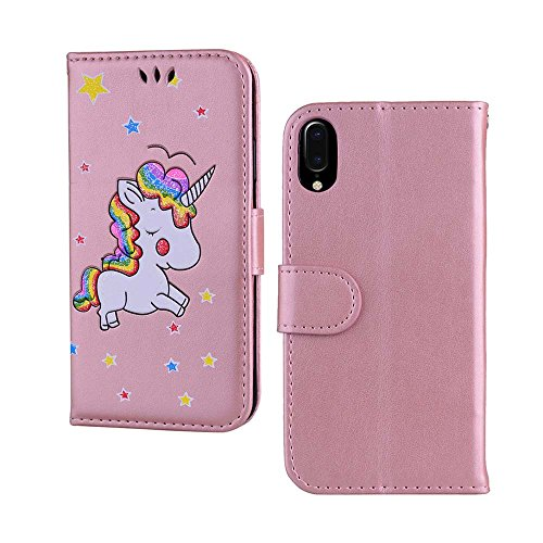 Custodia per iPhone X, ESSTORE-EU Unicorn Design Premium Custodia in PU Pelle con Custodia Innominale Soft TPU, Unicorn Carino con...