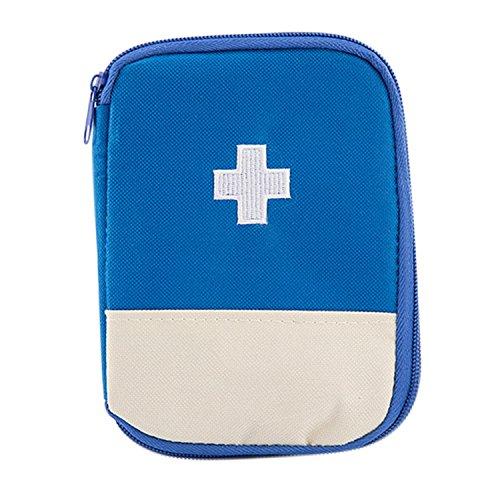 Boodtag Leer Erste Hilfe Set Bag Tragbare Medizin Tasche Aufbewahrungstasche Medikament Verpackung Tasche für Haus Outdoor in der Reise (Blau)