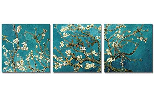 Blume, Giclee Canvas Art (AMC ART Almond Blossom Van Gogh Canvas Wall Art Print Landschaft, apricot Bild auf Leinwand Blumen Giclée Kunst für Zuhause gerahmt fertig zum Aufhängen, 16x16inchx3pcs)