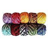Pack 10 Hilos de Algodón Ganchillo por Kurtzy - Diseño a Rayas en una Variedad de Colores - Hilos para Patrones, Proyectos y Apliques - 5 Gramos - 43m de Hilo - Material Alta Calidad