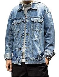 WQ&EnergyMen Men Fashion Destroyed Retro Multi Pockets Lapel Washed Jean Jacket