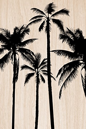 Cuadros Lifestyle 2D-Wandobjekt aus Holz | Palmen | Silhouetten | Holzbild | Shabby-Look | Landhaus | Vintage | Holzobjekt | Deko | Holzdruck | Geschenk, Größe:ca. 60x90cm