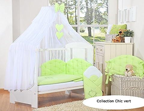 Ciel de lit bébé enfant moustiquaire à coeurs - Chic vert
