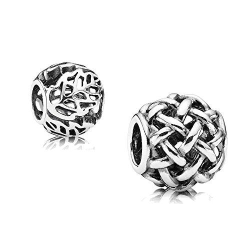 Original Pandora Geschenkset - 1 Silber Charm Offenes Korbgeflecht 790973 und 1 Silber Charm Durchbrochene Blätter 791190