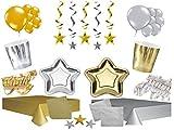 XXL Party Deko Komplettset silber gold Sterne Party Geschirr 110 teilig bis 24 Personen Kindergeburtstag Silvester Weihnachten Party Geschirr Geburtstag
