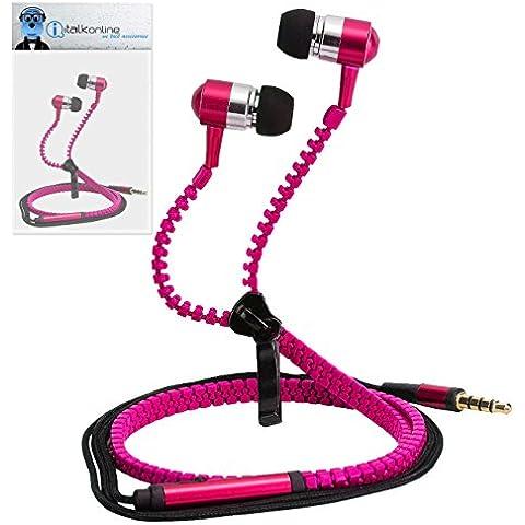 iTALKonline Elephone P9000 Helio P10 MTK6755 Rosa Premium 3.5mm ZIP Alluminio di alta qualità In Ear Stereo Headset Wired Hands Free Cuffie con Costruito nel microfono del Mic e On Off Button
