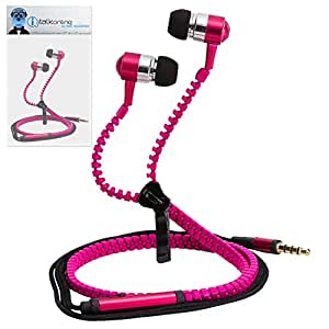 Pink Premium 3.5mm Aluminium ZIPPER In Ear Stereo Wired Headset Hands Free Headphones with Built in Mic Microphone and On Off Button For Samsung Galaxy Tab 2 7.0 P3100