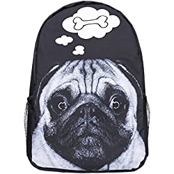 Mochila negra con diseño hueso perro pug