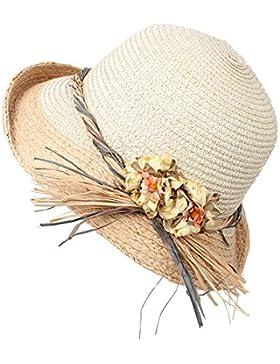 LVLIDAN Sombrero para el sol del verano Lady Anti-Sol Playa sombrero de paja beige