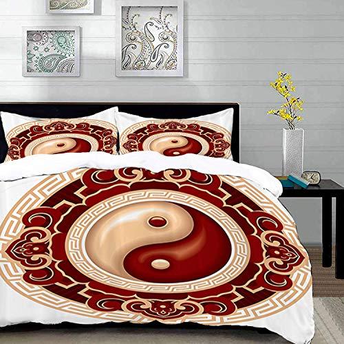 Bettwäsche-Set, Mikrofaser,Ying Yang Set, traditionelles asiatisches Kultursymbol mit floralen Ziermustern Balance Zen, Jade Hunter Fern Green 1 Bettbezug 200 x 200cm + 2 Kopfkissenbezug 80x80cm