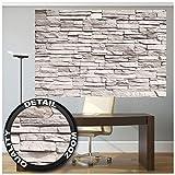 Foto mural White Stonewall - Tapiz de piedra 3D Piedra Muro Decoración de pared Óptica de piedras blancas Pared de piedras Muro de piedras I foto póster deco pared by GREAT ART (210x140 cm)