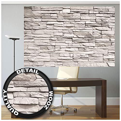 Great Art XXL Poster - Weiße Steinwand - Steinmauer Stonewall Industrie Design Wandverkleidung Mauer Wand Bild Naturstein Wandbild Steine Wanddeko Motiv Fotoposter (140 x 100 cm)