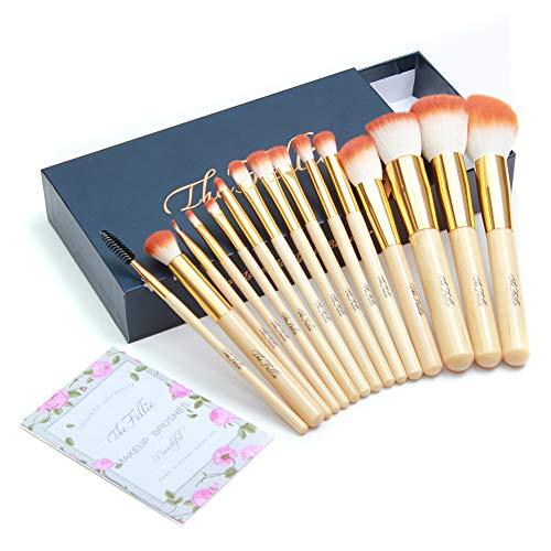 The Fellie Maquillage Brosses, Professional Bambou Manche Poudre Plat Fondation Blush Concealer Sourcils Fard À Paupières Eyeliner Cils Brosse À Lèvres Set, 15 Pcs