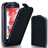 Samsung Galaxy S3 Mini Hülle Schwarz [OneFlow 360° Klapp-Hülle] Etui thin Handytasche Dünn Handyhülle für Samsung Galaxy S3 Mini S III Case Flip Cover Schutzhülle Kunst-Leder Tasche