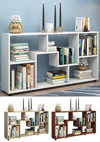 VCM Regal Standregal Kommode Bücherregal Sideboard Aufbewahrung Holz Raumteiler Pintal Weiß (Sideboard Bücherregal)