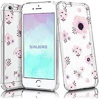 Sinjoro Funda iPhone 6S/ iPhone 6, Floral Flor Flower Transparente Diseño Cubierta Goma Bumper Cover, Cristal Clear para Apple iPhone 6S/ iPhone 6 (Flamingo)