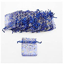 Blue : GOOTRADES Eyelash Design Organza Drawstring Pouches Jewelry Party Wedding Favor Gift Bags (pack of 50) (Blue)
