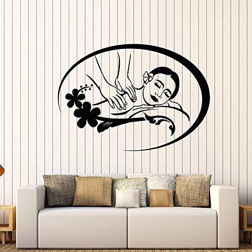 wukongsun Vinyl Wand Applique Massage Spa Beauty Salon Wandaufkleber Kunst Logo Spa Wandbild schwarz M 79cm x 56cm