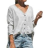 TianWlio Langarm Bluse Damen Frauen Mode Lässige Mode Streifen V-Ausschnitt Casual Top T-Shirt Damen lose Langarm Top Bluse