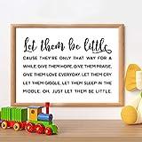NLZNKZJ Lassen Sie sie kleine Kinder zitieren Kunst Malerei Wand Dekor, schwarz und weiß minimalistischen Leinwand Kunstdrucke Spielzimmer Zeichen Modern Decor 60x90cm kein Rahmen