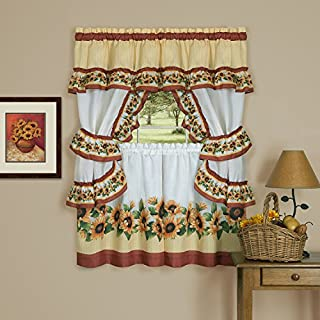 Achim Home Furnishings Black Eyed Susan Window Curtain Cottage Set, 57 inch x 36 inch, Spice, 57 x 36