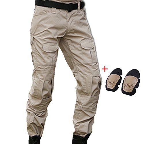 haoYK Pantaloni tattici di Paintball BDU Militare Pantaloni Airsoft Pantaloni da lavoro multiplo con ginocchiera (M (32'), Cachi)