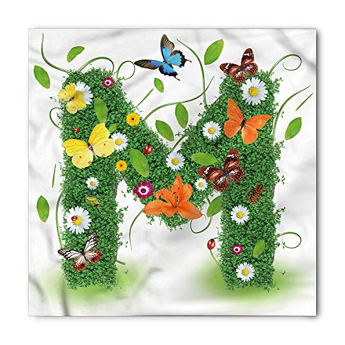 na, Flower and Butterfly M, Unisex Bandana Head and Neck Tie Neckerchief Headdress Silk-Like 100% Polyester ()
