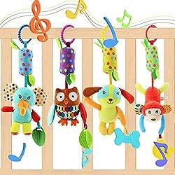 EVANCE Cochecito para niños Cochecito de bebé Juguetes Colgantes para bebés, Sonajeros Suaves Juguetes para bebés de 3 6 9 12 Meses Niños y niñas (4 pack)