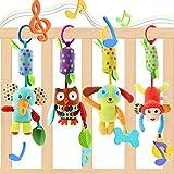 EVANCE Bébé Jouet de Poussette Berceau Hochet Jouets Animales, Jouets Doux de bébé de hochets pour 3 6 9 12 garçons et Filles (4 pack)