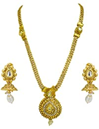 [Sponsored]Suratdiamond Traditional Drop Shaped White Stone And Gold Plated Necklace Earring Fashion Jewellery Set For Women...