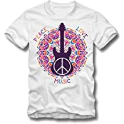 BOARDRIPPAZ T SHIRT PEACE LOVE MUSIC GUITAR RETRO HIPPIE 70s er WOODSTOCK LIEBE