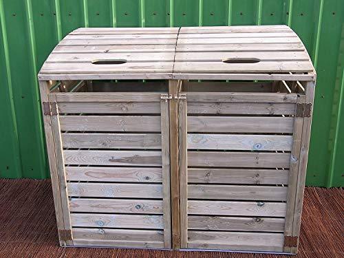 *naturholz-shop Mülltonnenbox 2 Tonnen Müllcontainer Müllbox Mülltonnenverkleidung 150 x 126 cm*