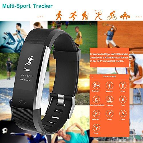 YAMAY Fitness Armband,Wasserdicht IP67 Fitness Tracker Smartwatch Aktivitätstracker Pulsuhren Smart Watch Schrittzähler Fitness Uhr Vibrationsalarm Anruf SMS Whatsapp Beachtenfür iOS Android Handy - 4