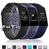 Wepro Compatibel met Fitbit Charge 3 Bandje voor Dames Mannen, Waterdichte bandje met Ademende Gaten Sportriem voor Fitbit Charge 3 en Fitbit Charge 3 SE, Klein Zwart/Blauw/BlauwGrijs