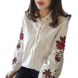 Camicetta donna elegante camicetta - hibote elegante donna scollo a V pullover casual ricamo manica lunga camicia camicetta top blu / bianco