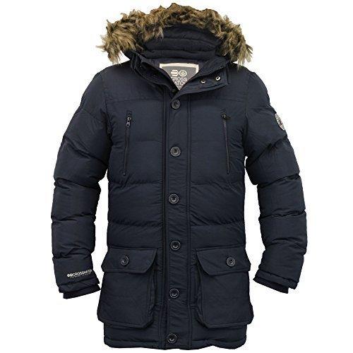 Herren Parka Jacke Crosshatch Mantel Mit Kapuze Gepolstert Gesteppt Kunstpelz Futter Winter Marineblau - KODU
