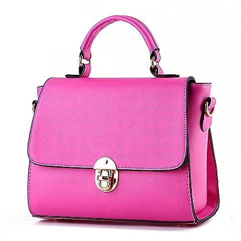 Koson-Man Womens PU Leather Vintage Beauty Buckle Tote Bags Top Handle Handbag(RoseRed)