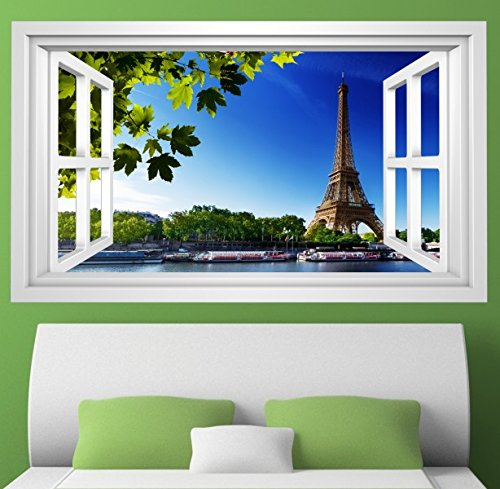 3D Wandmotiv Paris Fenster Skyline Eiffelturm Bildfoto Wandbild Wandsticker Wandtattoo Wohnzimmer Wand Aufkleber 11E326, Wandbild Größe - Paris-wand-aufkleber