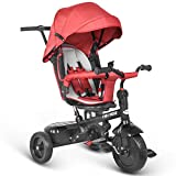 Besrey Triciclo bambini 7 in 1 Triciclo con maniglione Triciclo a spinta Triciclo Passeggino con seggiolino reversibile parasole 6 mesi a 6 anni (ROSSO)